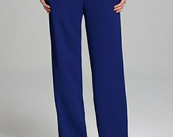 High waisted pants Royal blue Crepe Georgette,High Fashion CUSTOM ORDER, sizes from 2 to 16 or your measurements