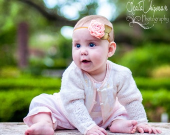 Baby Photo Prop, Singed Satin Baby Headband Vintage Inspired Singed Satin Rosette Photo Prop NO.12-48