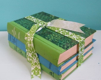 Vintage Books Set of Three in Blues and Greens Instant Library Collection