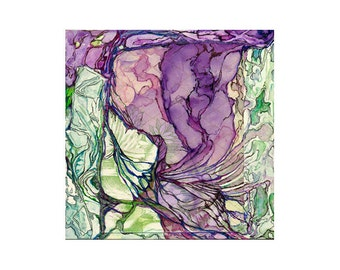 Abstract watercolor print, small green purple art, 8 x 10, topography, Colonization: Green Wallpaper 2 (Fern River Confluence)