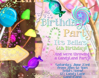 CandyLand Birthday Party Invitation, Candy Land Party, Birthday Candy Land Invitation