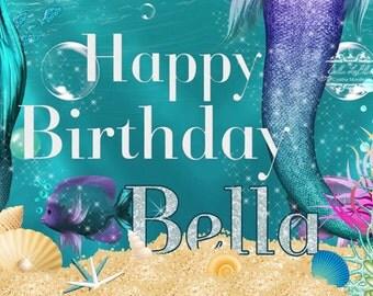 Mermaid Birthday Banner, Mermaid Party, Mermaid Banner, Birthday Banner