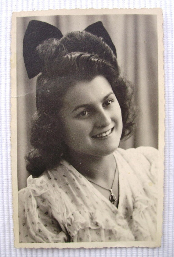 Vintage French Photograph - Young Woman with Large Bow in her Hair