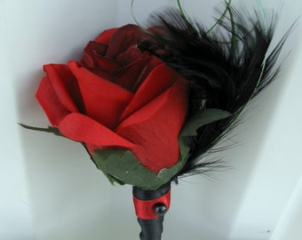 Boutonniere silk red rose black feather groomsmen groom wedding boutonnieres
