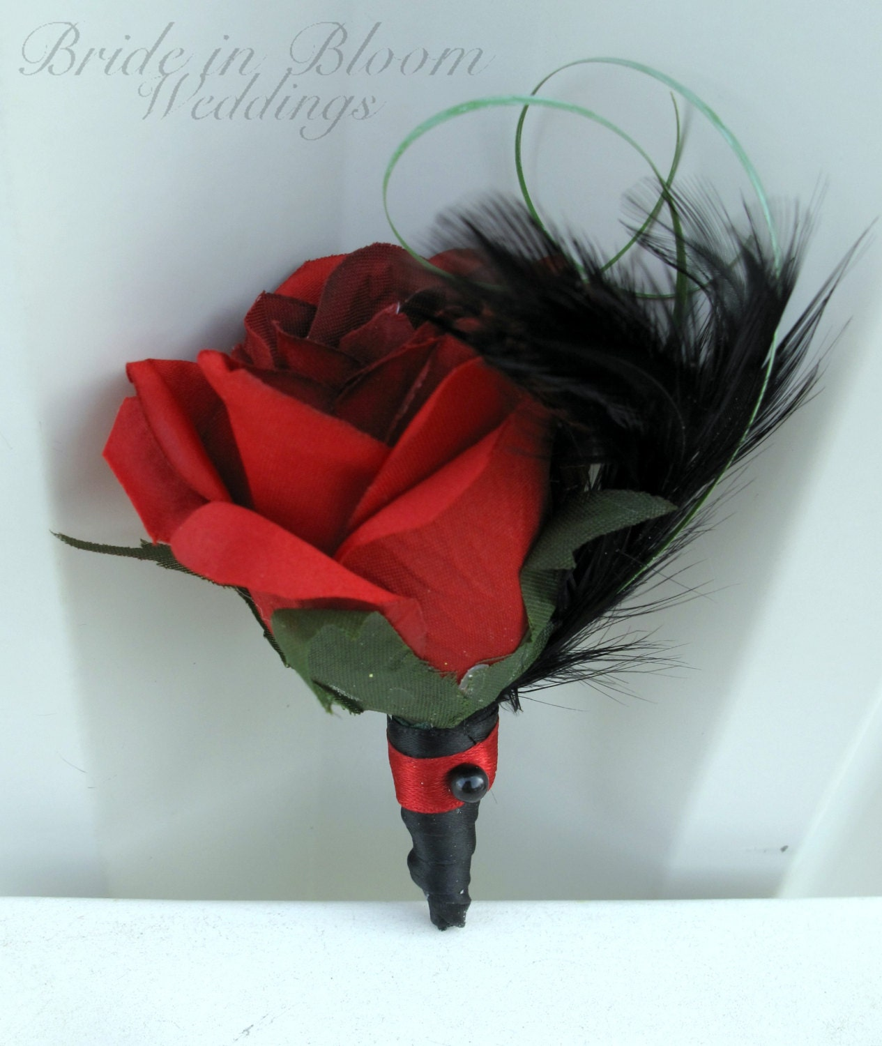 Boutonniere Silk Red Rose Black Feather Groomsmen Groom