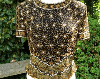 Top Art Deco Style 80's Gold and Black Beaded Silk Top Size L Papelle Boutique
