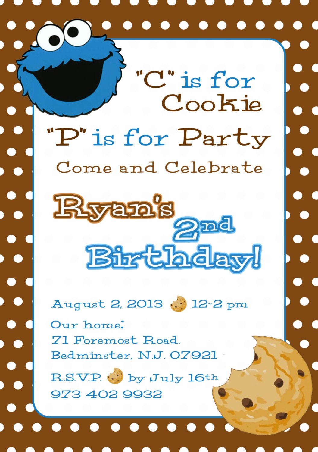 Cookie Monster Invitation Sesame Street Invite Cookie
