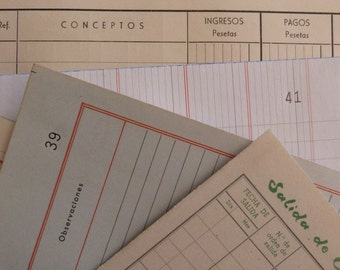 10 LEDGER PAPER PACK - Vintage Big Ephemera set