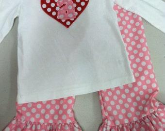 Valentine Double Ruffle Polka Dot Pant Set- Sizes 5 to 8