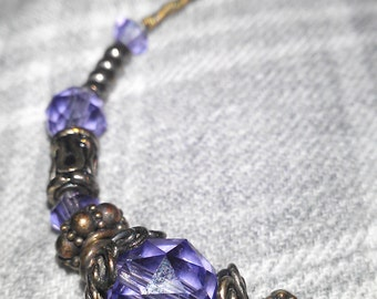 Vintage purple beaded bracelet with matching earrings and bag