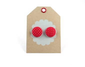 Red and White Polka Dot Fabric Button Stud Earrings