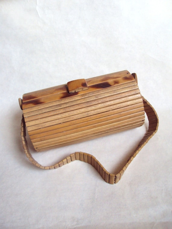 1950s 60s Bamboo box handbag