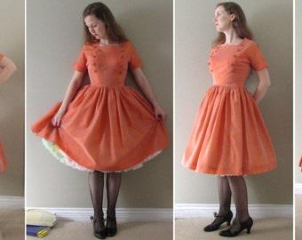 Tangerine Taffeta Vintage 50s Prom Dress - Orange Shimmery Circle Skirt Cocktail Party Dress Cupcake Nautical Apricot Melon Pumpkin Bright S