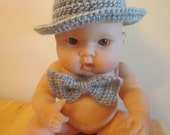 Fedora and Bowtie Set Newborn Photography Prop Grey