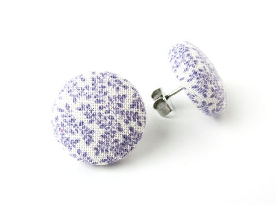 Purple white stud earrings -  fabric covered button earrings tiny round bridal