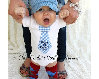 Happy 1st Father's Day Baby Boy Personalized Tie Bodysuit.  Plaid, Stripes, Gingham. New Dad New Baby, Dad and Son Matching Outfit