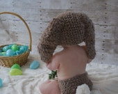SUMMER SALE 0 to 3m Newborn Bunny Hat Diaper Cover Set Brown Cream Crochet Baby Bunny Pom Pom Diaper Cover Baby Hat Bunny Ear Photo Prop