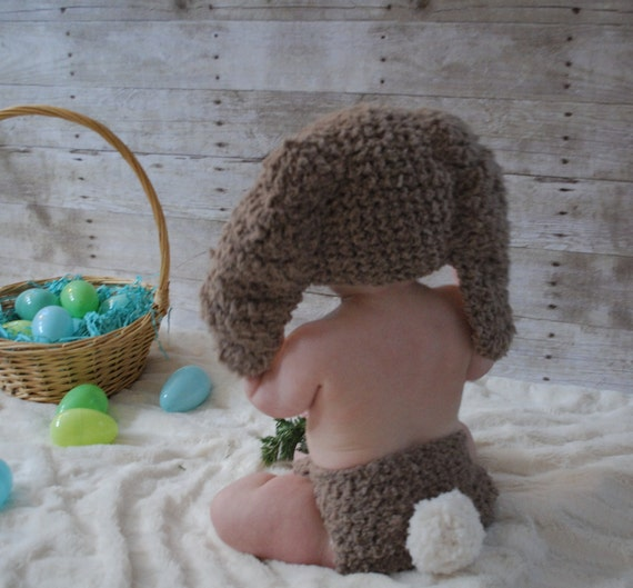 0 to 3m newborn bunny hat diaper cover set brown cream crochet like this item negle Images