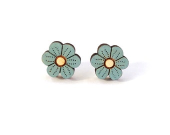 Blue flower earrings ~ hand painted laser cut stud earrings
