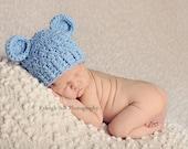 NEWBORN Baby Boy Hat, Baby Boy Monkey Hat, Baby Flapper Beanie, Blue with Ears. Newborn Photo Props. Baby Boy Gift.