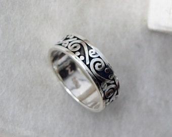 Boho Wedding Band Ring, Boho Silver Ring, Tribal Silver Ring