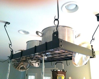 Hand Forged Iron Small Pot Rack With Hand Forged Rivets by VinTin (Item # K-915)