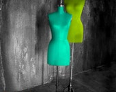 Aqua & Lime Mannequins - Photo - Turquoise Chartreuse Green Fashion Distressed Grey NYC Theater Urban Window Display New York Shopping