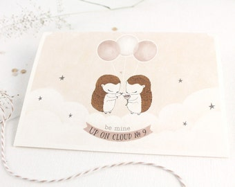 30% OFF - Valentine's Day Card - Be Mine, Up On Cloud No.9 - 10 Greeting Cards