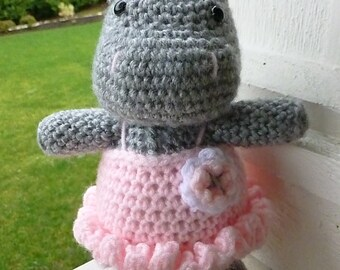 Made to Order-Daisy the Hippo in Tutu Crocheted Toy