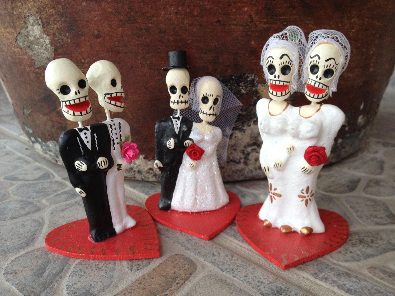 dia de los muertos day of the dead wedding couple cake topper