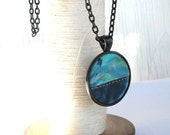 Aqua Blue Fabric Necklace Quilted Patchwork Black Pendant Batik Cloth