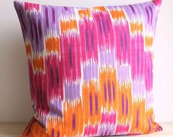 Orange and Pink Ikat Pillow Cover, 18 Inch Ikat Pillow Sham - Ikat Zigzag Tangerine