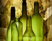 Green Vintage Bottles aglow from backlighting  A Fine Art Wall Decor Photograph - RandyNyhofPhotos