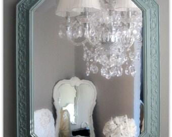 Vintage Octagon Mirror Mint Shabby Chic Beach Cottage