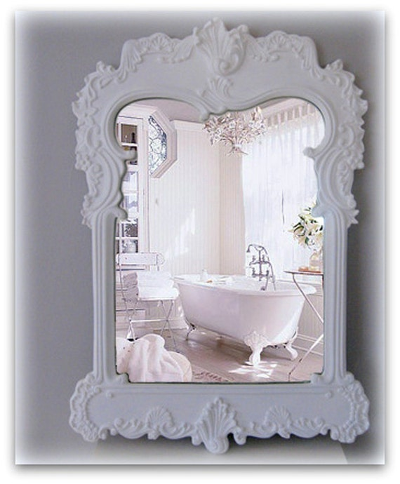 French bathroom mirror shabby chic white mirror for French shabby chic bathroom ideas
