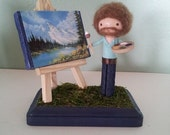 Bob Ross Clothespin Doll - MADE TO ORDER