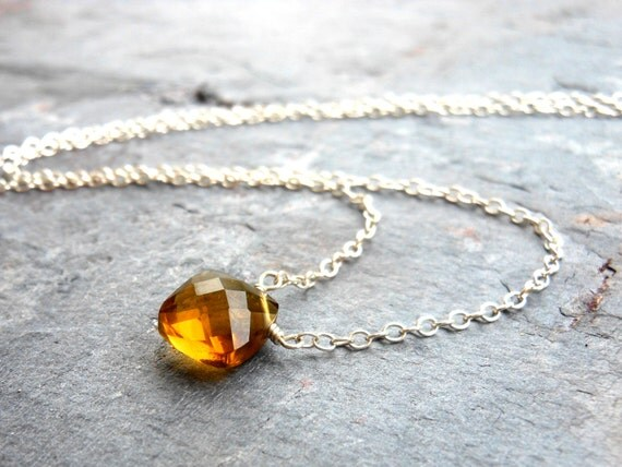 Minimalist Beer Quartz Necklace, Sterling Silver, Simple wire wrapped gemstone amber pillow