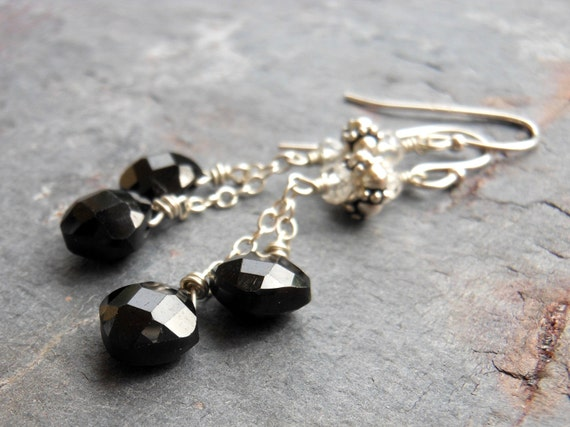 Black Spinel Earrings, Dangle Black Diamond Gemstone Earrings, Sterling Silver