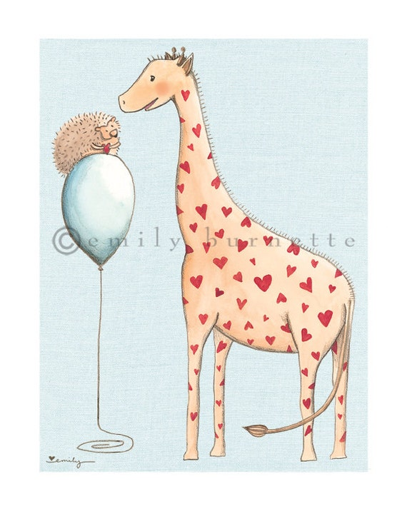 I Carry Your Heart Print -  Giraffe and Hedgehog watercolor - Boy Girl Nursery Wall Art Print - Emily Burnette - Recipe 4 Cute