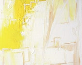 "13"" x 13"" ART PRINT on stretched canvas - yellow white gold - abstract expressionism"