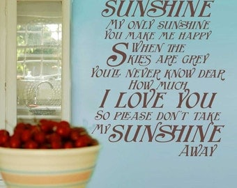 You are My Sunshine wall art - Vinyl Wall Decal Sticker - Typography Wall Art