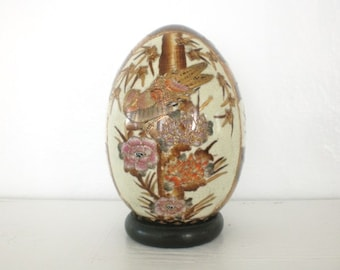 Vintage Chinese Satsuma Porcelain Egg Reproduction