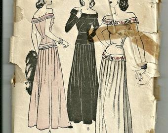 1940's Evening Dress Off Shoulder Long Torso Gown Butterick Pattern 4224 Size 12, Bust 30 FF