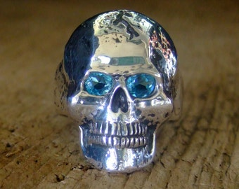D.A.R.E STERLING SILVER skull ring with Swiss Blue Topaz