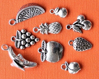 Fruit Charm Collection Antique  Silver Tone 9 Different Charms - COL184