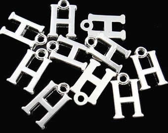 8 Letter H Alphabet Charms Silver Plated Great for So Many Projects - SC2343