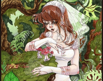 Married to the Forest - Anime Style Marker Illustration - Original Artwork Fine Art Painting Drawing Bride Ferns Rustic