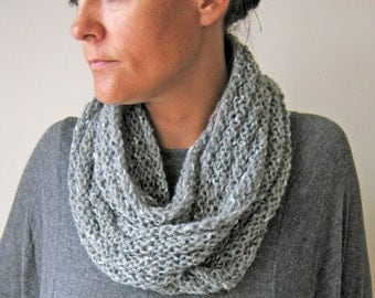 Hand Knitted Scarf Cowl Grey