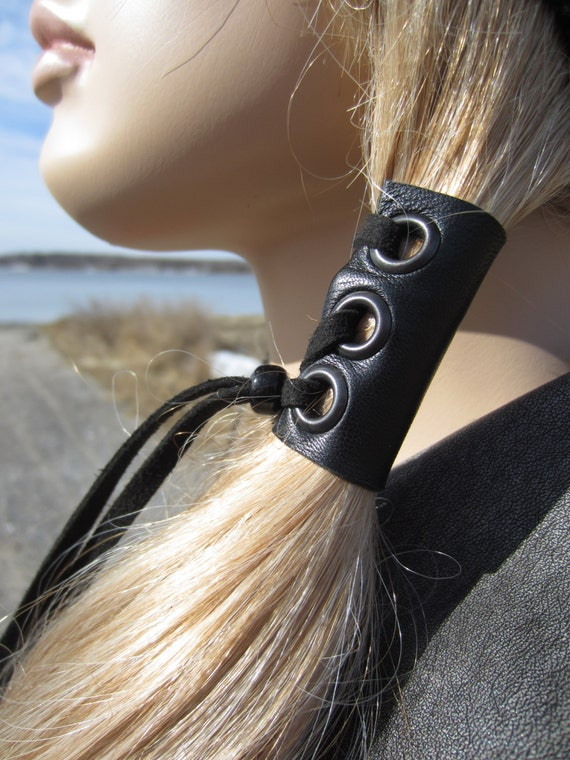 Leather Hair Ties Wraps Black Ponytail Holder Hair Jewelry