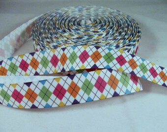 "1 Yard 7/8"" Harlequin Diamond Ribbon in Primary Colors"